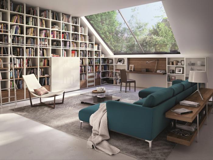 meubles-sous-pente-belle-bibliothèque-sous-les-combles