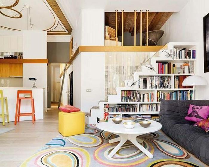 meubles-sous-pente-bibliothèque-sous-escalier