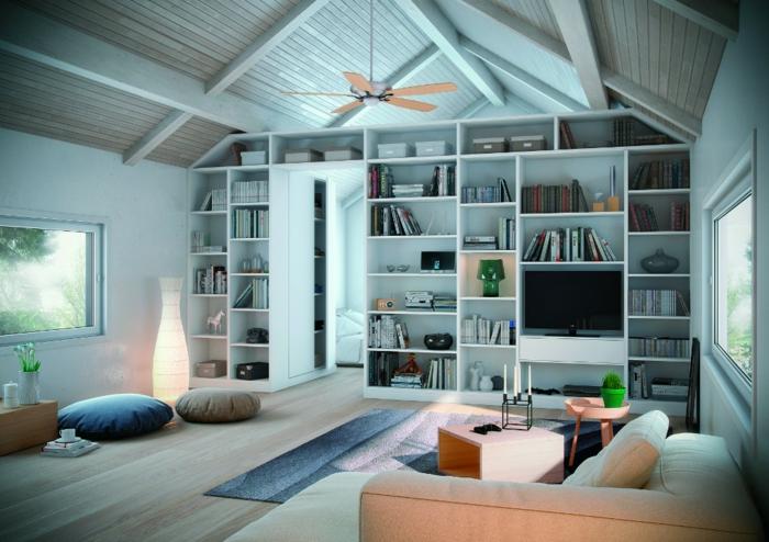 meubles-sous-pente-bibliothèque-sous-pente