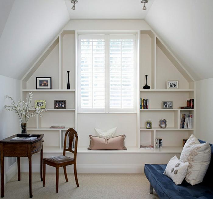meubles-sous-pente-intérieur-attique-étagère-blanche