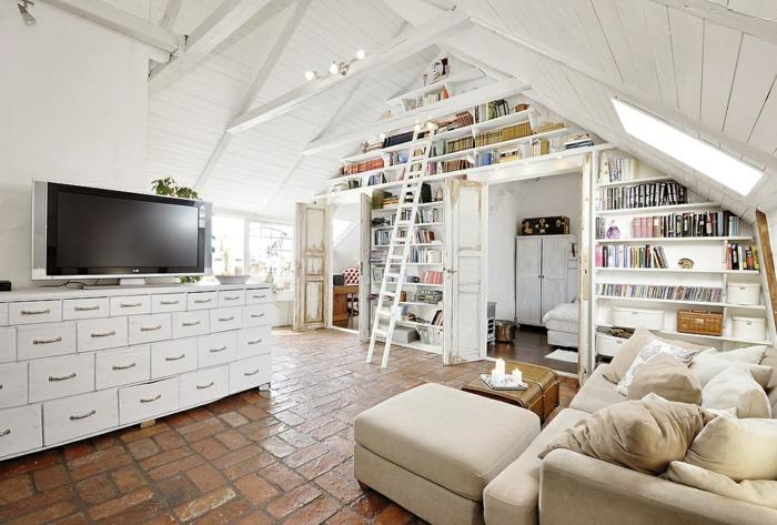 meubles-sous-pente-intérieur-original-tout-blanc