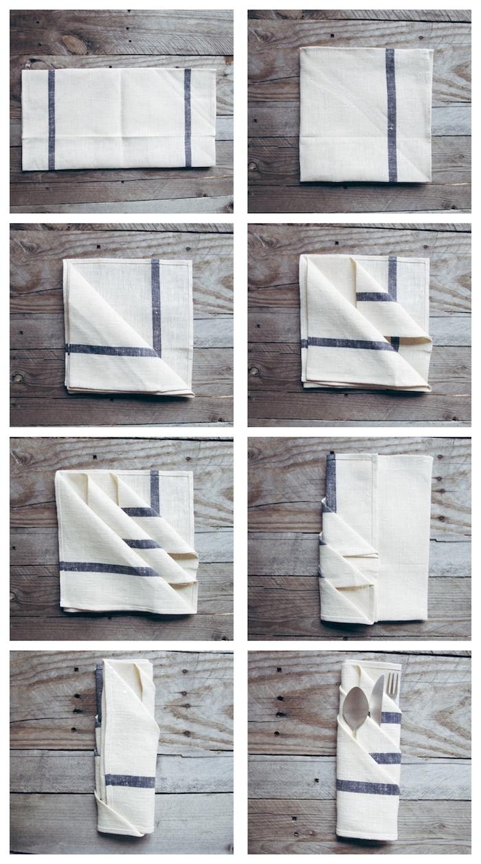 tuto pliage serviette facile, pliage serviette range couvert pour ranger des couverts de cuisine argent