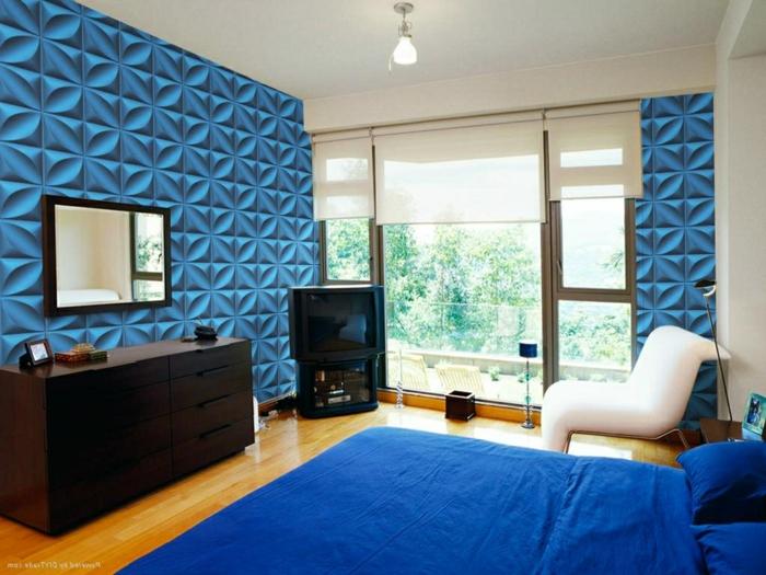 panneau-mural-3d-joli-design-en-bleu