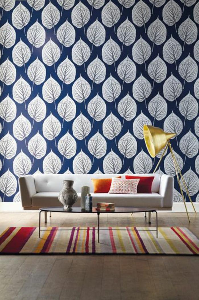 papier-peint-intissé-castorama-dans-la-chambre-d-séjour-papier-peint-intissé-bleu-a-motifs