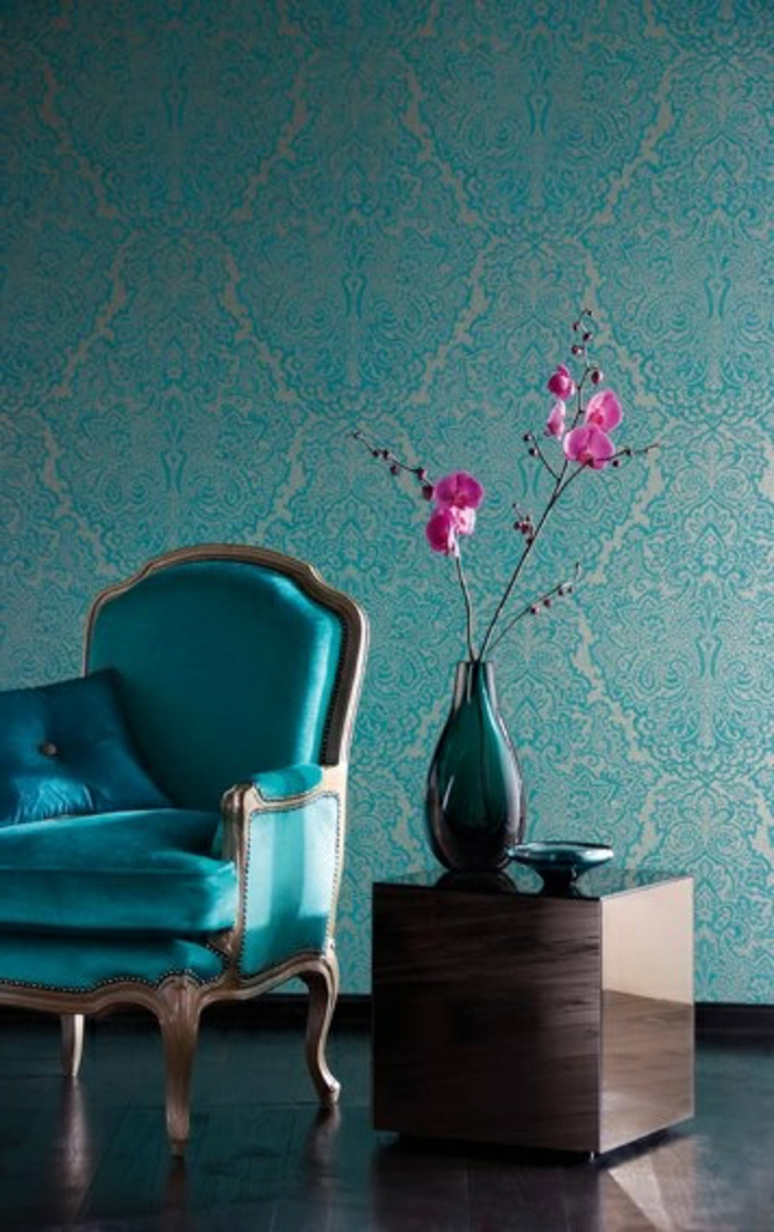 papier-peint-intissé-castorama-dans-la-chambre-d-séjour-papier-peint-intissé-bleu