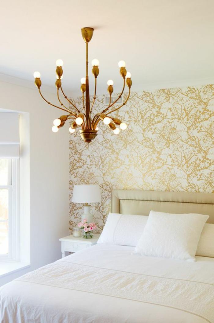 papier-peint-intissé-chambre-à-coucher-intérieur-clair-lustre-insolite-décoration