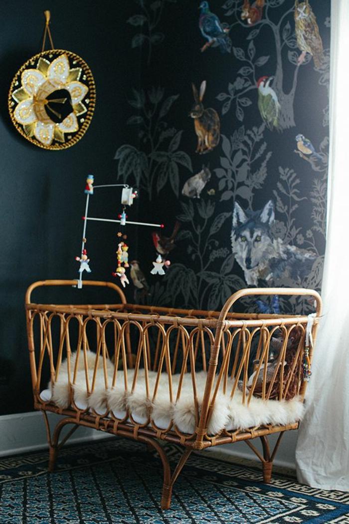 papier-peint-leroy-merlin-meubles-d-intérieur-lit-d-enfant-chambre-d-enfant-en-rotin