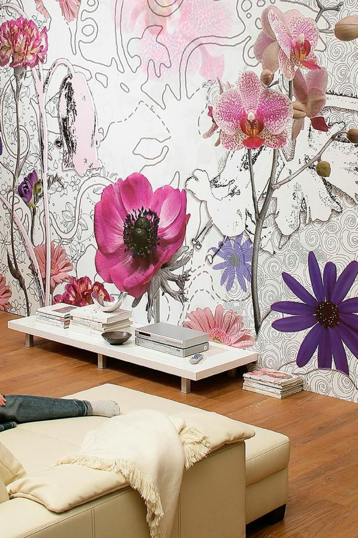 papier-peint-saint-maclou-dans-la-chambre-de-sejour-une-jolie-idee-avec-fleurs