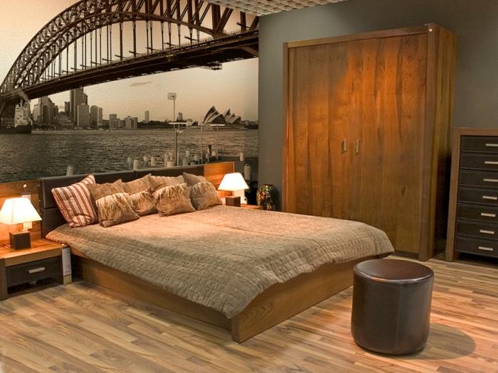 papiers-peint-trompe-l-oeil-chambre-à-coucher-meubles-marrons-stickers-trompe-l-oeil