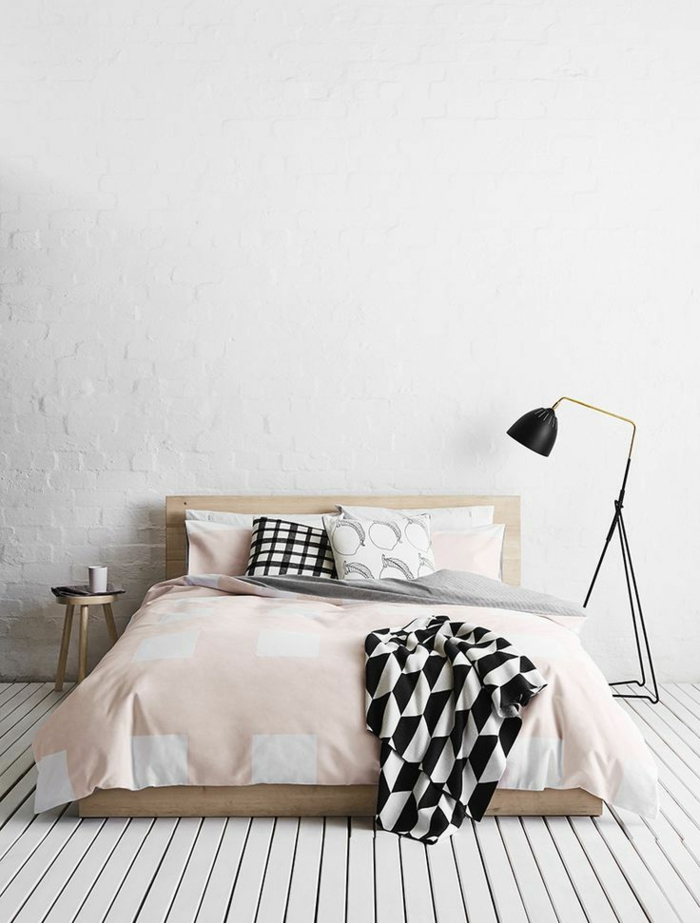 parquet-blanc-chambre-à-coucher-avec-sol-en-planches-blanches