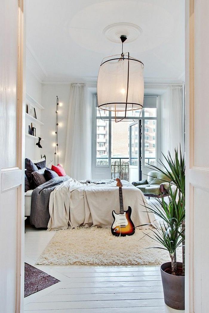 parquet-blanc-chambre-à-coucher-blanche-plafonnier-intéressant