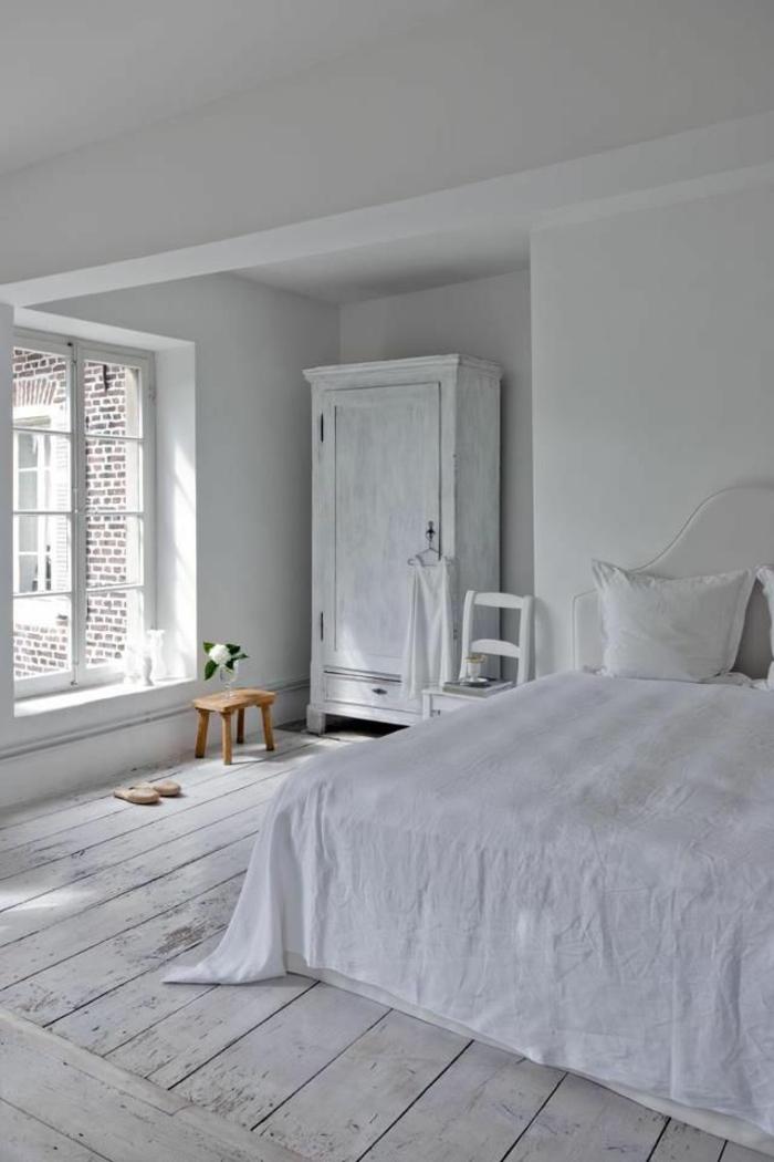 parquet-blanc-parquet-blanchi-de-chambre-à-coucher-toute-blanche