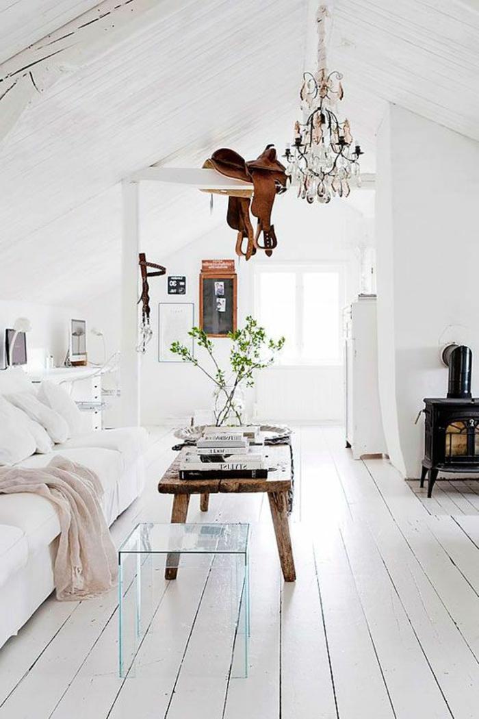 parquet-blanc-poêle-rustique-table-en-bois-brut