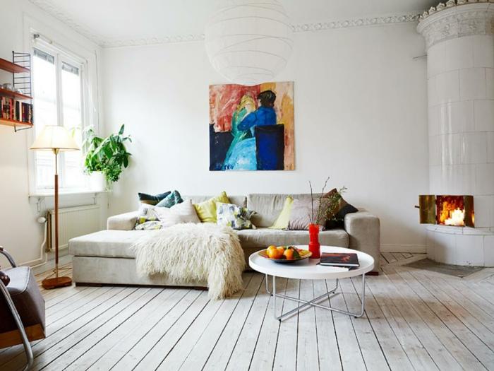 parquet-blanc-salle-de-séjour-à-esprit-scandinave-poêle-cylindrique