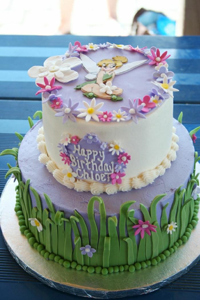 photo-gateau-anniversaire-fille-comment-faire-à-soi-même-idée-gâteau-originale-tinker-bell