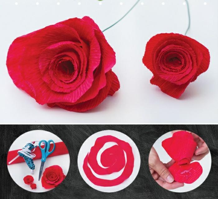 pliage-fleur-papier-crepon-idée-diy-bouquet-en-papier-rose-diy