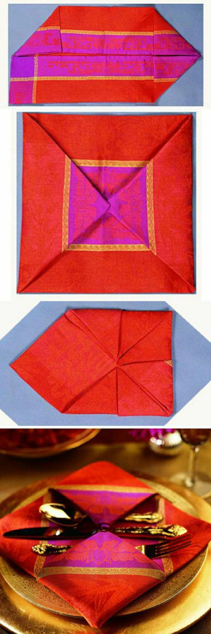 pliage-serviette-papier-rouge-serviette-de-la-table-élégant-mode-de-pliage