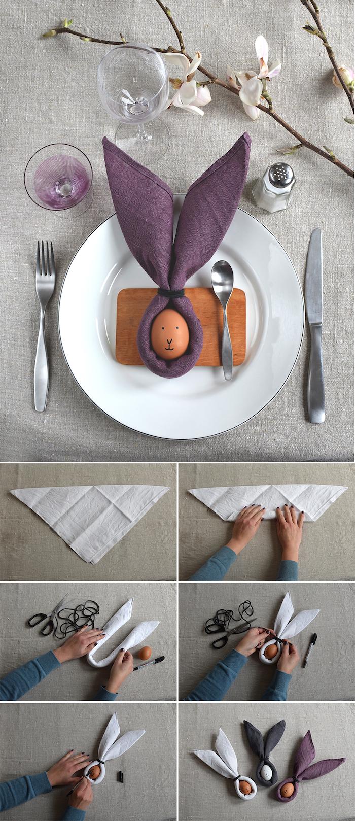 modele pliage serviette paques original avec un oeuf au centre d une serviette de tissu violet, blanc et gris foncé