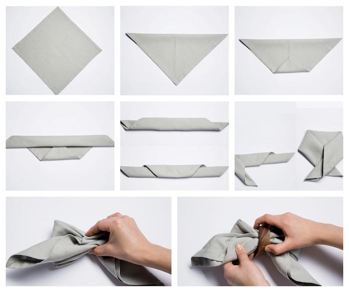 pliage serviette noeud de papillon en tissu gris, tuto pliage serviette tissu facile etape par etape