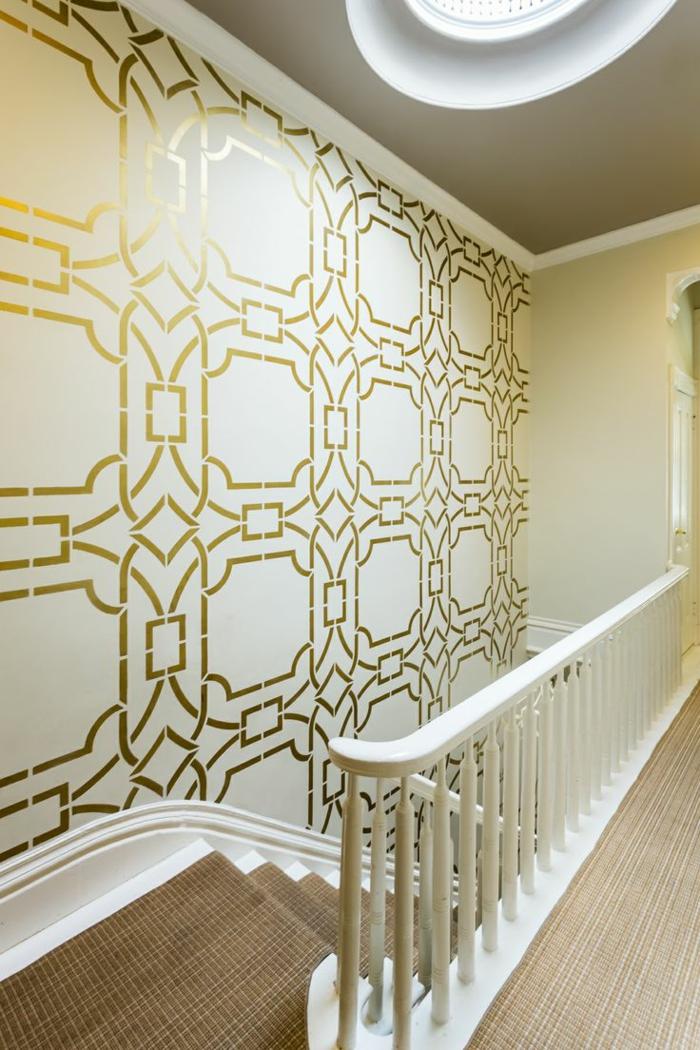 Peindre des motifs au pochoir sur un mur for Pochoir deco murale