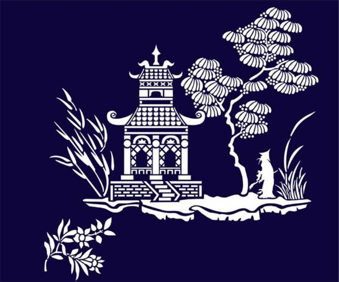 pochoir-oriental-pochoir-papillon-décoration-chambre-mur-bleue