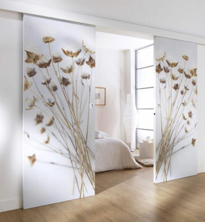 porte-coulissante-lapeyre-separateur-de-piece-aménagement-chambre-à-coucher-lit