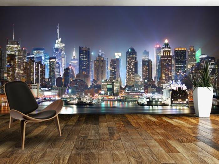 poster-mural-trompe-l-oeil-dans-le-salon-idee-deco-murale-dans-le-salon-avec-parquette-clair