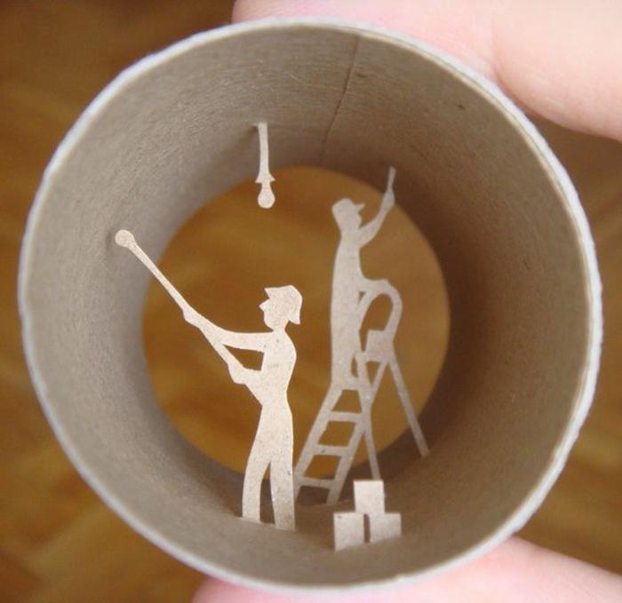recycler-le-rouleau-de-papier-toilette-idées-d'art-avec-matériaux-recyclés