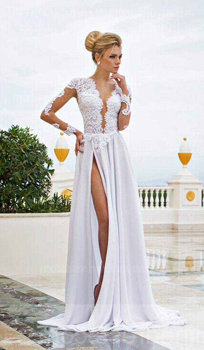 robe-longue-blanche-dentelle-vetements-style-veste-cuir-longue