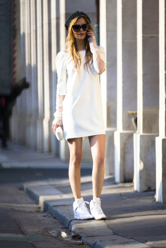 robe-pour-fiancailles-modele-robe-fiancaille-beauté-mode-courte-casuel-baskets