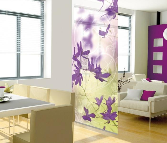 séparation-de-piece-dressing-chambre-cloison-de-séparation-fleurie-cool
