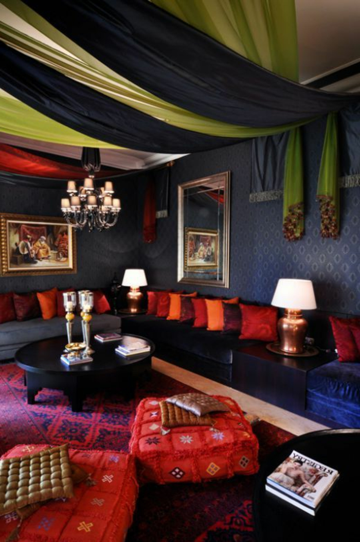 comment decorer son salon marocain. Black Bedroom Furniture Sets. Home Design Ideas