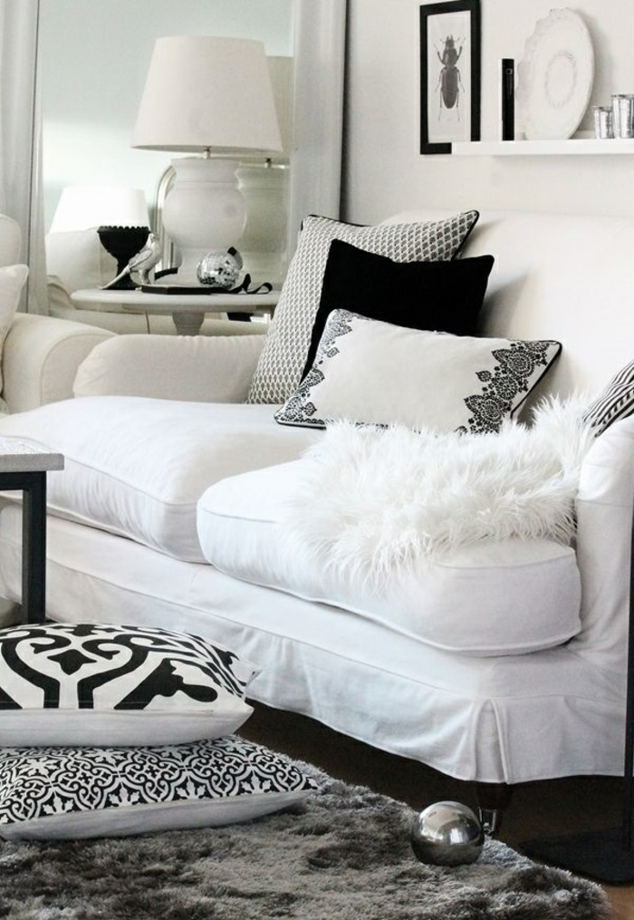 Salon Moderne Pas Cher : Tissu blanc pas cher maison design wiblia