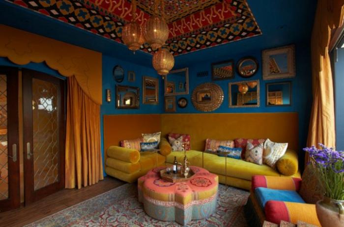 Le canap marocain qui va bien avec votre salon for Interior decoration home indian style