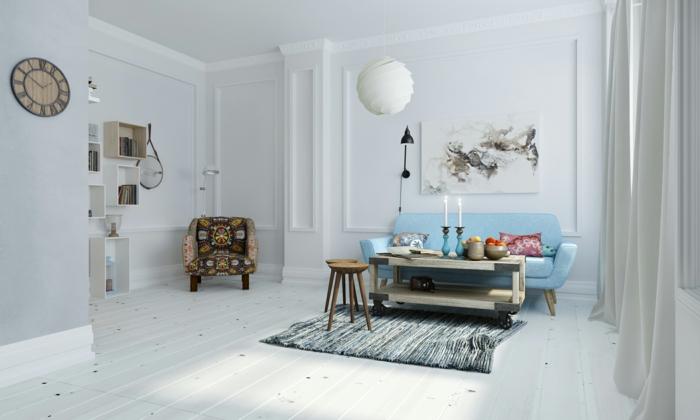 salon-scandinave-étagères-cubes-mobilier-en-bois