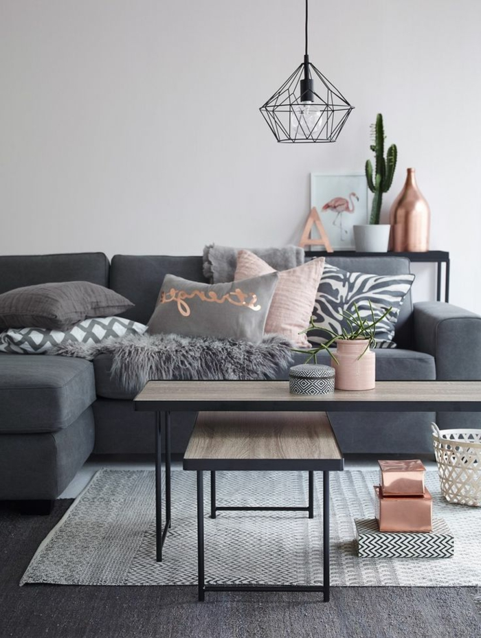 Comment cr er son salon scandinave for Deco rose et gris salon