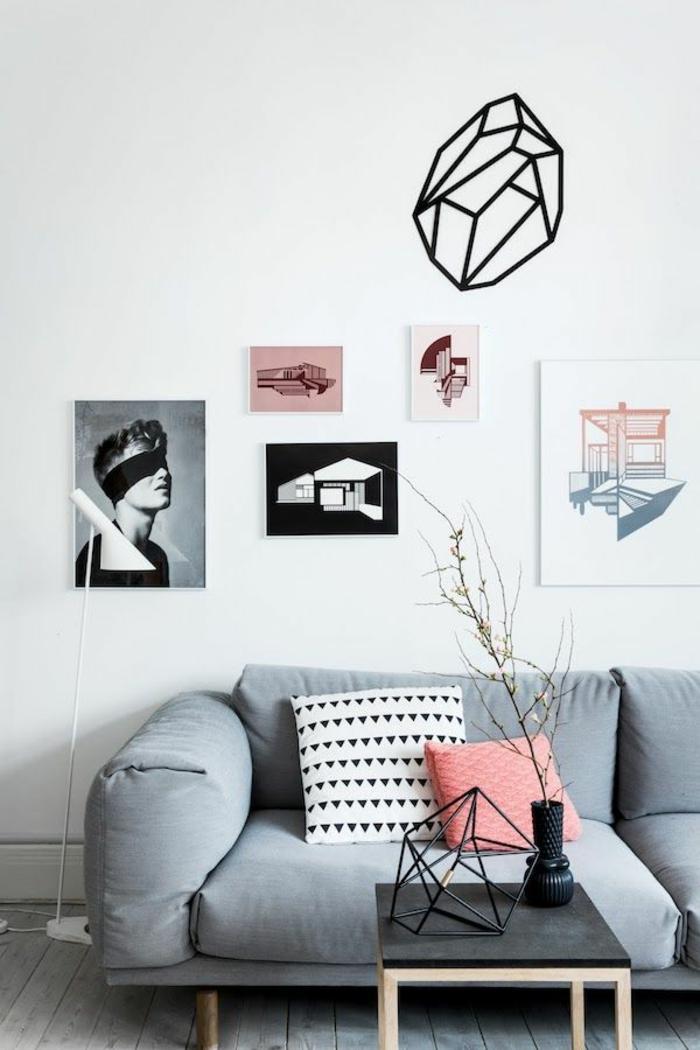 salon-scandinave-déco-murale-coussins-décoratifs
