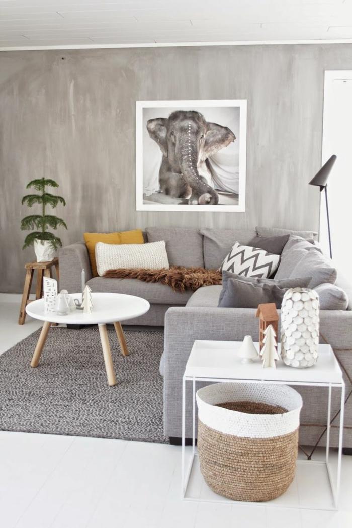Salon Gris Scandinave: Salon scandinave couleur peinture blanche canap ...