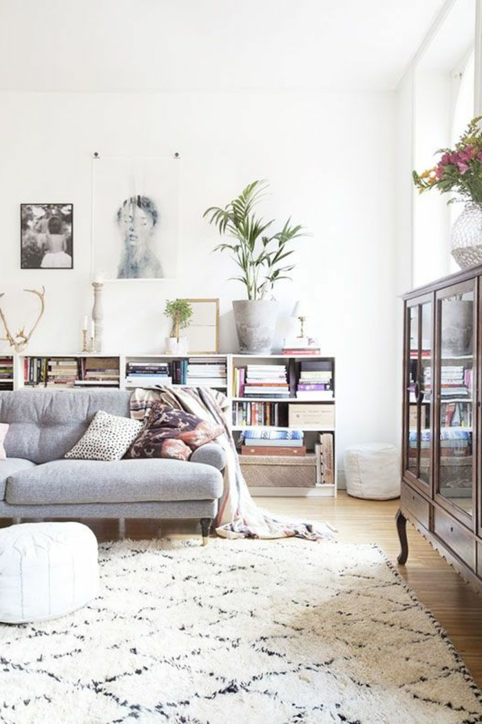 salon-scandinave-tapis-géométrique
