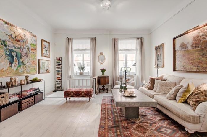 salon-scandinave-tapis-multicolors-mobilier-scandinave