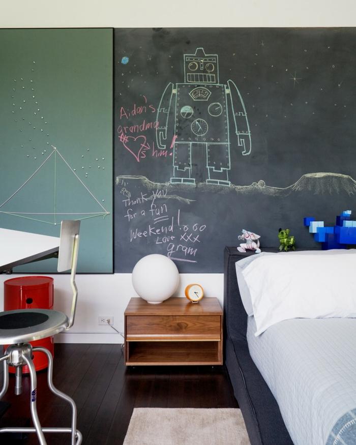stickers-muraux-ardoise-tableau-noire-cadres-déco-peinture-sur-ardoise-robot-chambre-ado-enfant