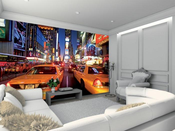 stickers-trompe-l-oeil-décoration-murale-avec-stickers-muraux-salon-de-couleur-blanc-canapé-d-angle-de-couleur-blanc