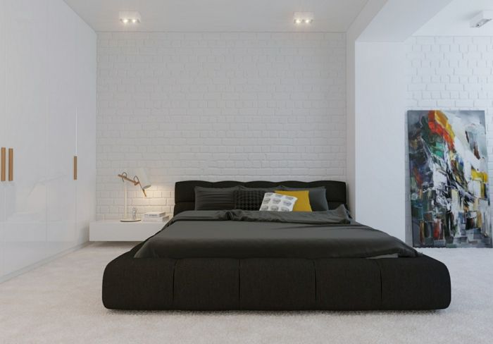table-de-nuit-suspendue-chambre-à-coucher-moderne-en-blanc-un-chevet-flottant