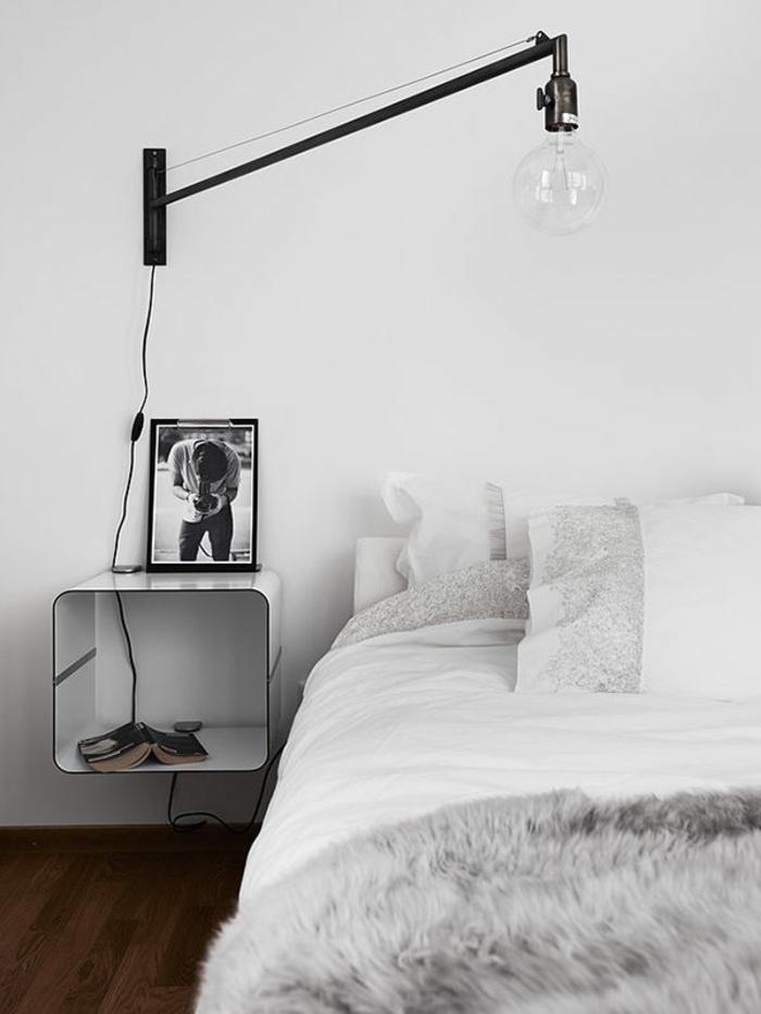 Installer une table de nuit suspendue pr s de son lit les avantages - Table de nuit industrielle ...
