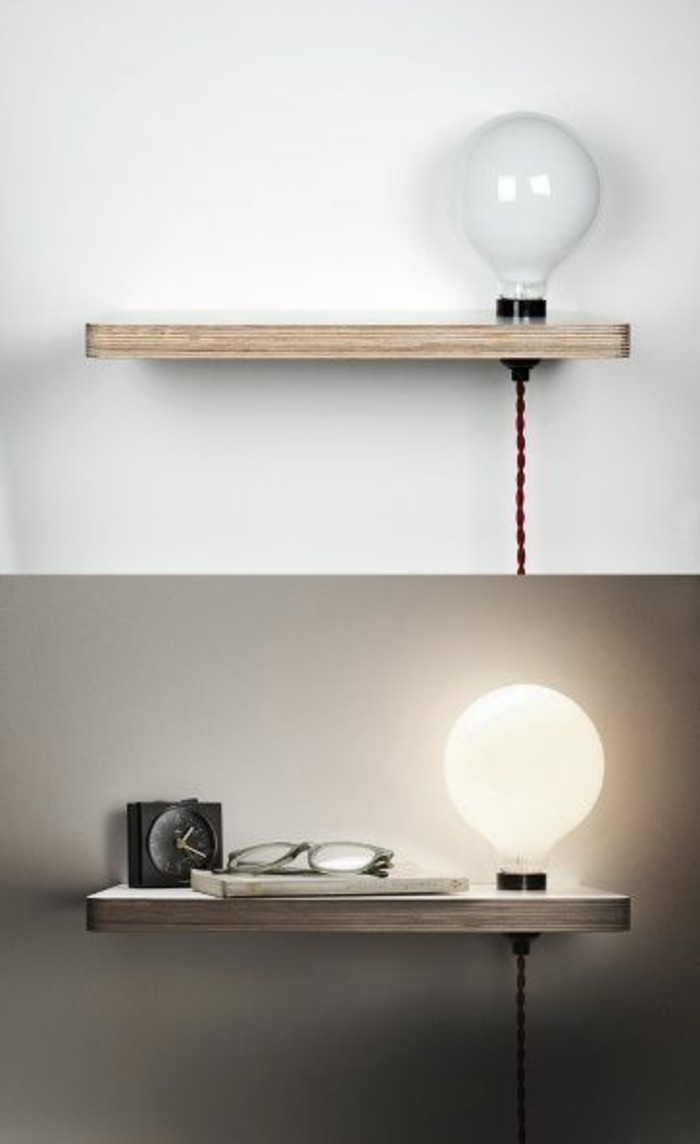 Installer une table de nuit suspendue pr s de son lit - Lampe de table de nuit ...