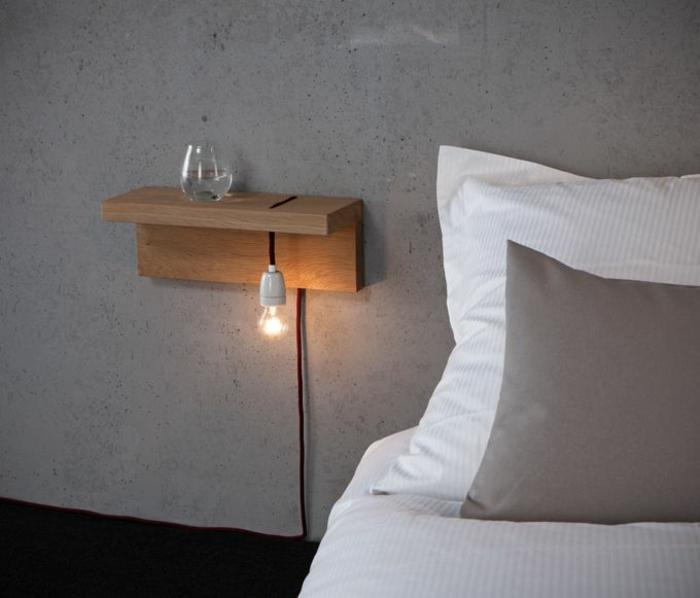 table-de-nuit-suspendue-petite-étagère-avec-ampoule-en-bois
