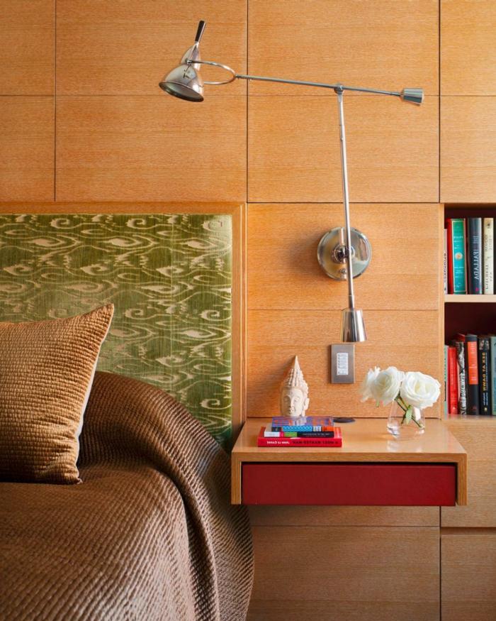 Installer une table de nuit suspendue pr s de son lit les avantages - Chevet suspendu avec tiroir ...