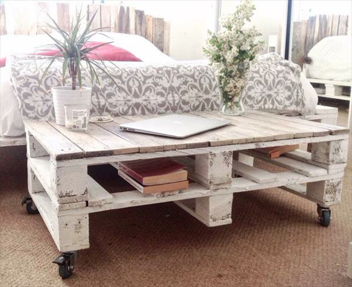 Table basse blanche shabby chic - Fabriquer une table de salon ...
