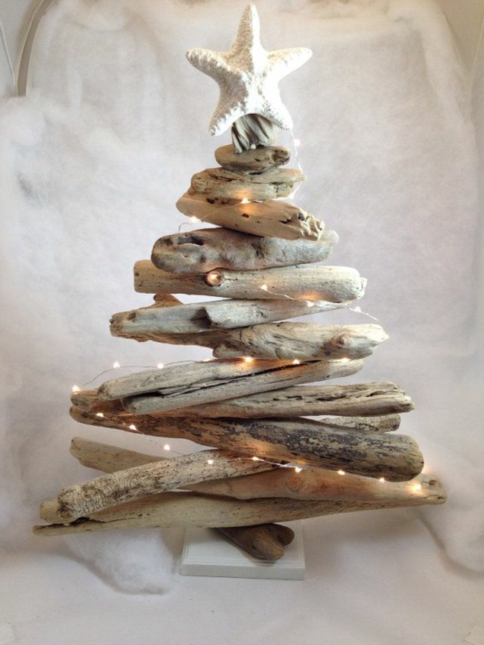 table-en-bois-flotté-peinture-sur-bois-flotté-lampe-décoration-bois-flotté-arbre-sapin-de-Noel