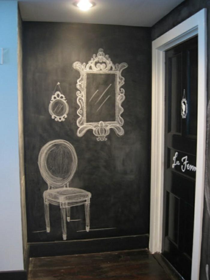 tableau-craie-mural-cadre-decoration-chevalet-ardoise-grand-tableau-noir-chaise-miroire-dessin-chalk